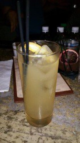 La Dame Blanc (Dewars 12 yr, St. Germain, pearl jasmine green tea, unfiltered apple juice, vanilla sugar, lemon)