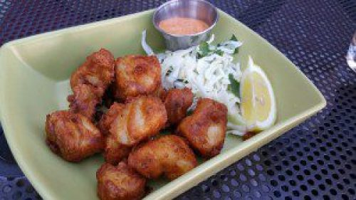 Stone Ale-Battered Fish Nuggets with smoked chili aioli