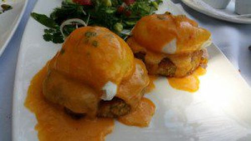 Moroccan Crab Cake Benedict with Harissa and Preserved Lemon Hollandaise