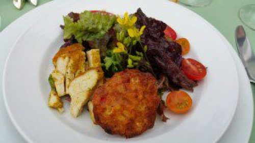 Sweet Corn Fritter with Spiced Rubbed Chicken