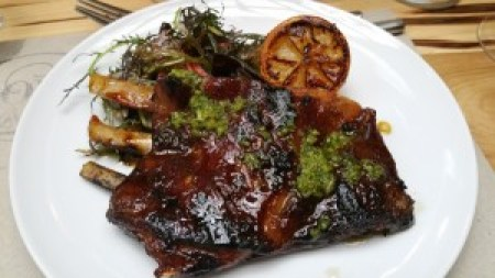 Lamb Ribs, Marsala candied eggplant, almonds and salsecco olives