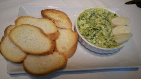 Warm Hearts of Palm and Spinach Dip, crispy toasts