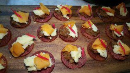 Hay Smoked Shoch Cheese with red wine bread, pickled pumpkin