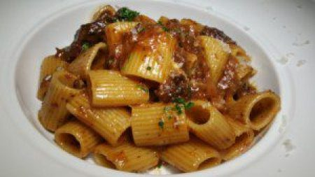 Rigatoni with Beef Cheek Ragu, Parsnips and Barolo wine