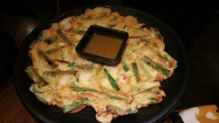 Seafood Pancake with Curry Dipping Sauce