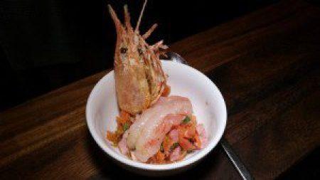 Spot Prawn Kimchi and Prawn Reduction, Fried Shell