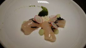 Scallop Crudo, Nori oil, pickled apples, sesame powder, hijiki, radish