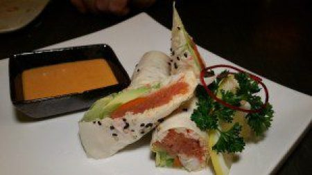 Gangster Wrap (spicy tuna, crab meat, shrimp with cucumber, gobo, avocado in soy paper with spicy goma sauce, no rice)
