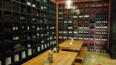 Pizza Romana's wine room