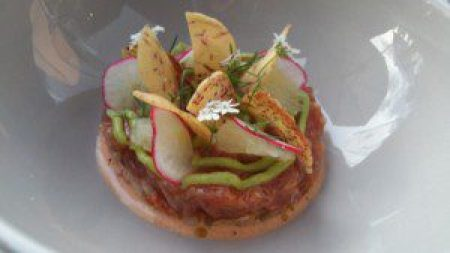 Tuna Tartare, avocado, oroblanco citrus fruit, taro chips