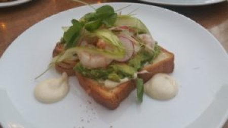 Avocado Toast, cured rock shrimp, asparagus, radishes, citrus aioli