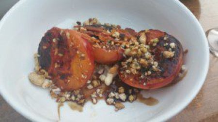 Grilled Peaches, house-made ricotta, black pepper almonds, barrel-aged balsamic, bacon salt