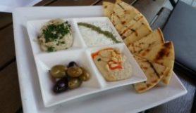 GREEK DIP TRIO (Hummus‎ / baba ghanoush / tzatziki / grilled pita / olives)