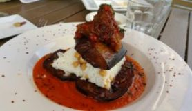 STUFFED EGGPLANT (Caramelized‎ onion-red pepper stuffed eggplant/parsley / rice with chickpeas / tomato sauce)