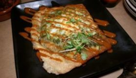 Tunisian Brik Pastry stuffed with Dungeness Crab, Organic Egg & Green Onions