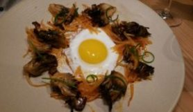 Roasted Maitake Mushroom, kohirabi, chili garlic, fried egg