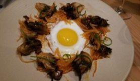 Roasted Maitake Mushroom, kohirabi, chili garlic, fried egg