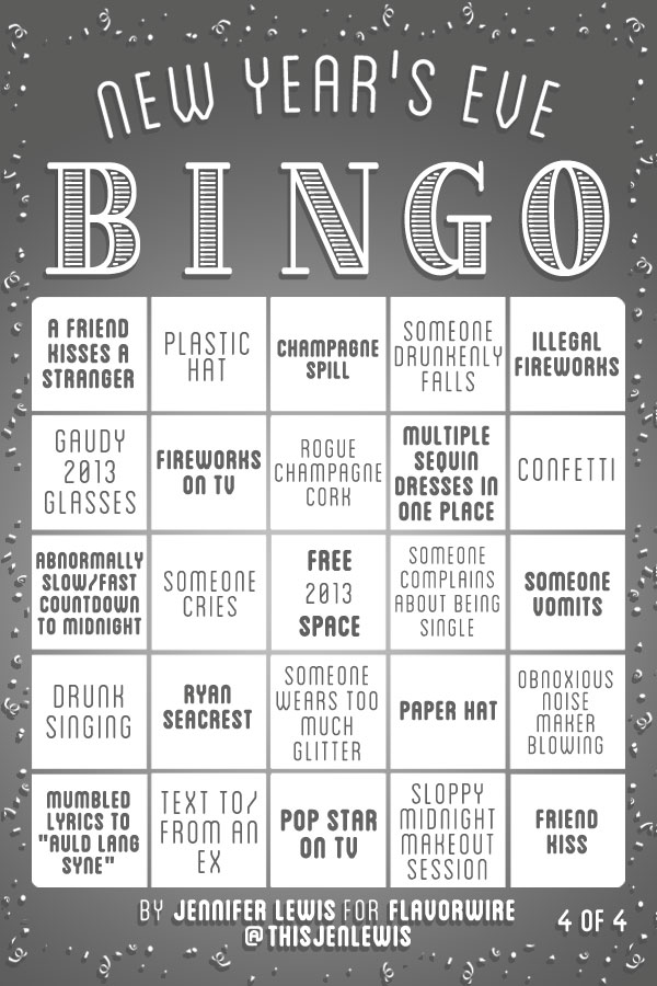 New Years Eve Bingo Cards 4 Pics Pleated Jeans