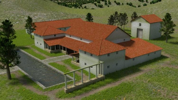 3D-Rekonstruktion der römischen Villa Rustica Großsachsen, Ansicht aus Nord-Ost