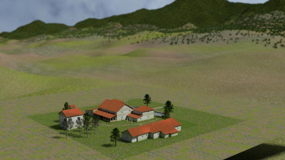 3D-Rekonstruktion der Villa Rustica Großsachsen, Blickrichtung zum Odenwald