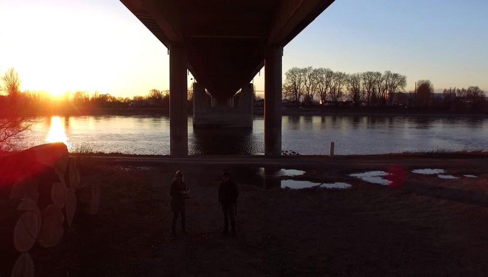 Drohne Brücke Rhein Germersheim