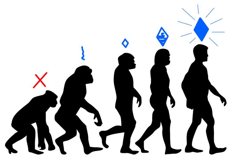 Illustration der Argumentation von Harari: Wann soll denn der Mensch während der Evolution zu einer Seele gekommen sein?