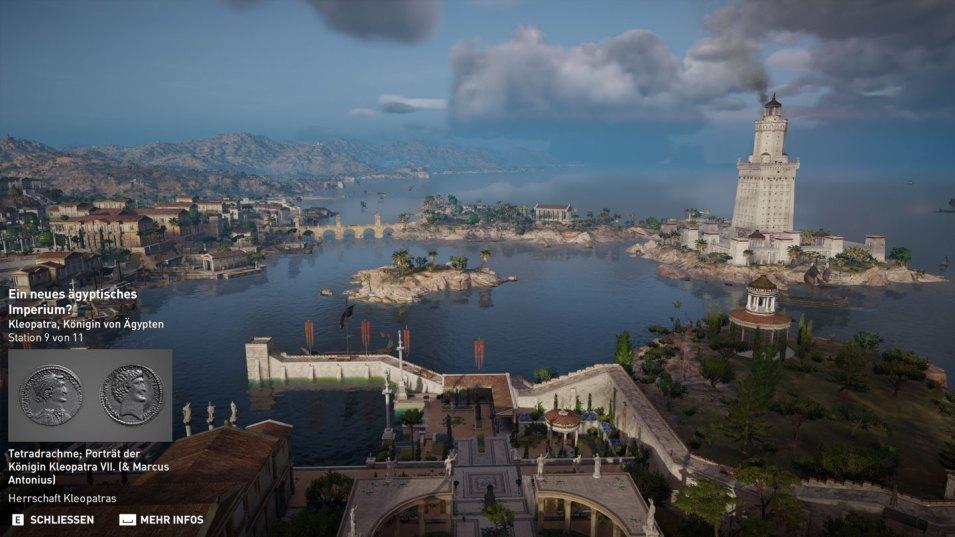 Ausblick von Kleopatras Palast über den Hafen von Alexandria zum Leuchtturm