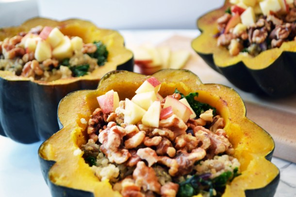 quinoa apple kale stuffed acorn squash with sage and lentils
