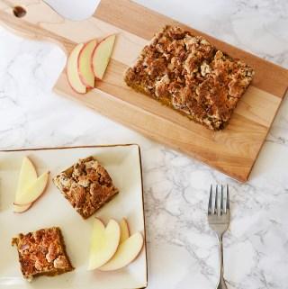 vegan gluten free pumpkin spice coffee cake with pecan crumble