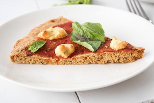 vegan margherita pizza with melty cashew mozzarella