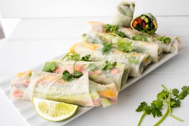vegan gluten free mango fresh rolls