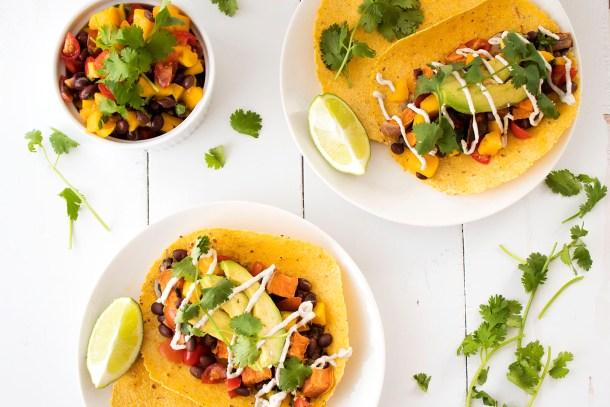 sweet potato portobello vegan tacos with mango salsa cashew sour cream and avocado