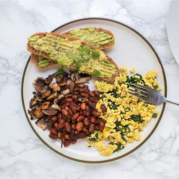 vegan full breakfast baked beans tofu scramble avocado toast