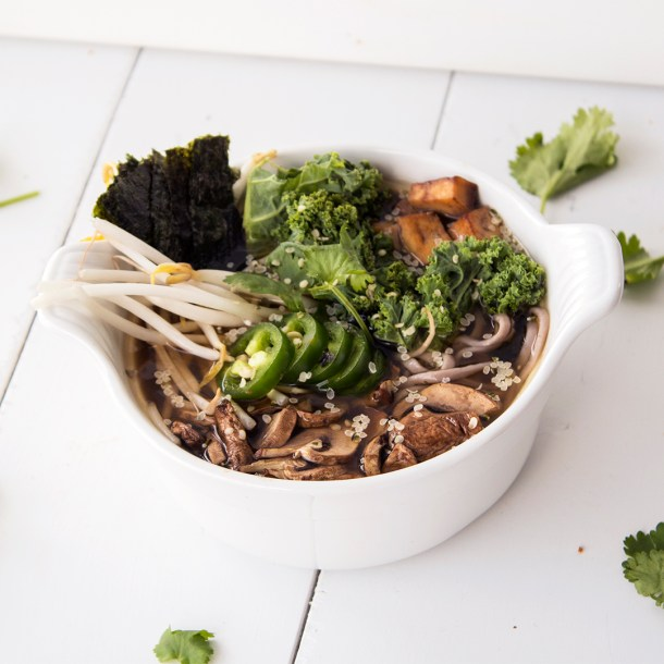 vegan miso noodle soup with mushrooms tofu and kale