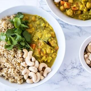 Vegan chickpea vegetable coconut curry