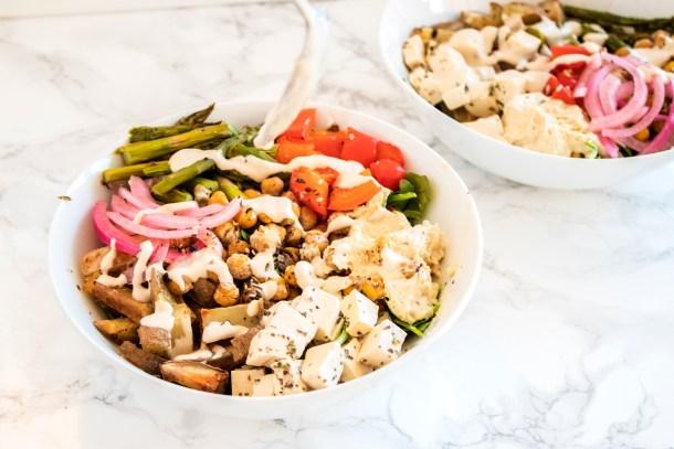 Vegan Mediterranean Bowl with Tofu Feta
