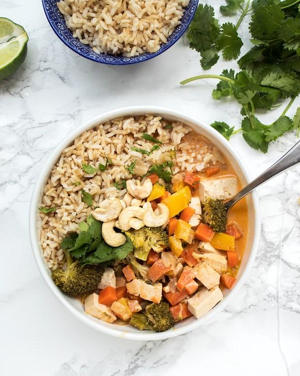 vegan thai peanut red curry