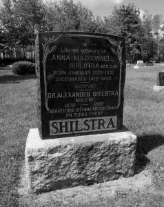 The Anna and Alexander Schilstra gravestone at Clearsprings. Alexander was Steinbach's first real doctor and Anna was its first female doctor.