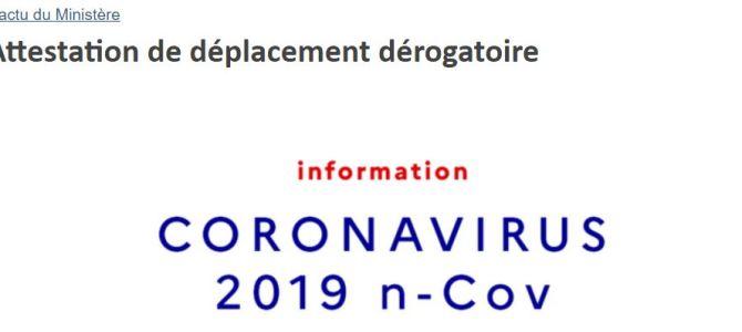 CORONAVIRUS: Attestation de déplacement dérogatoire