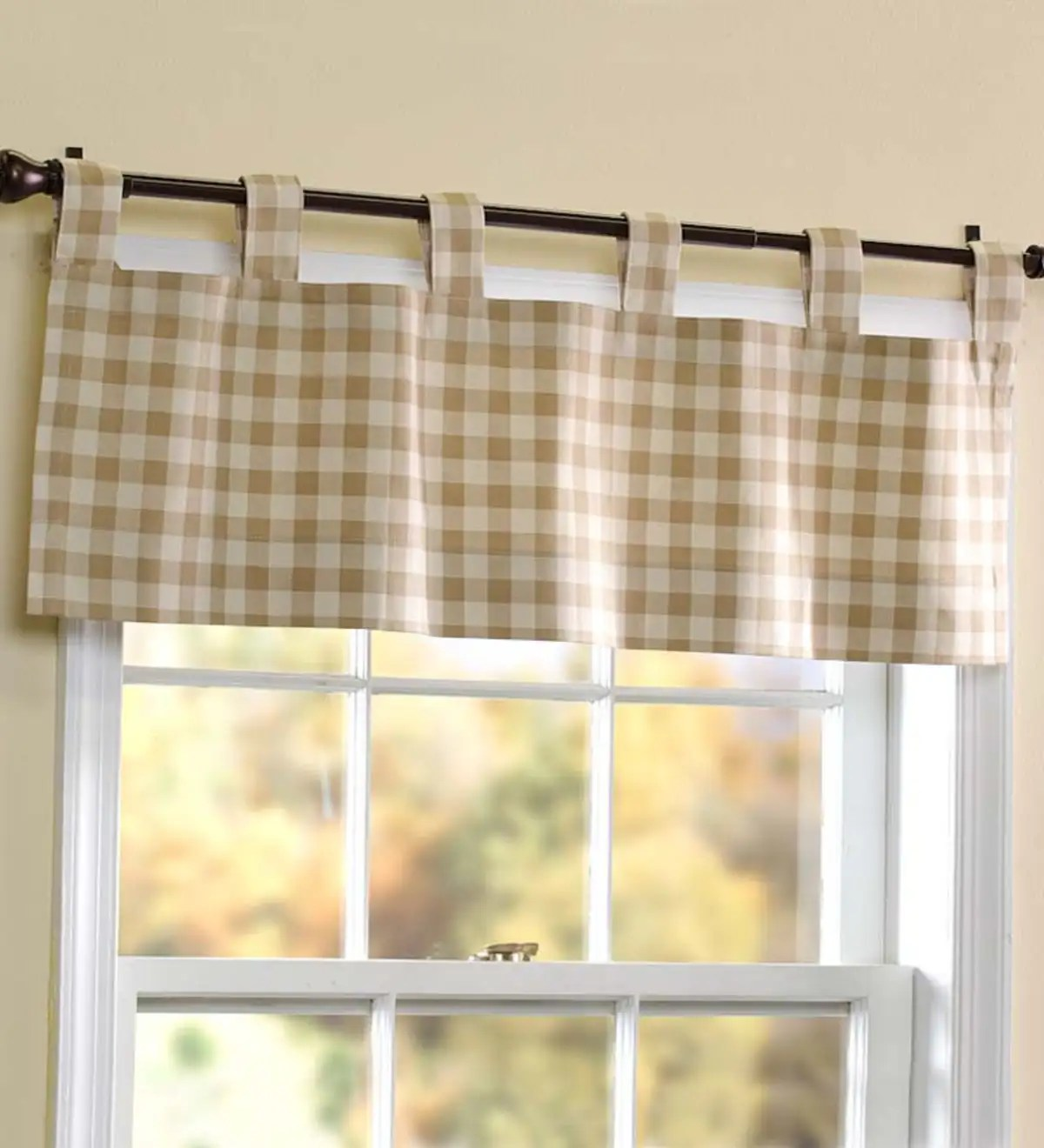 15 L X 40 W Thermalogic Check Tab Top Valance Curtain