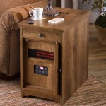 Four In One Side Table With Space Heater Charger Magazine Rack And Pull Out Tray Plowhearth
