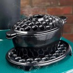 2 3 Qt Cast Iron Lattice Wood Stove Steamer And Trivet Set Black Plowhearth
