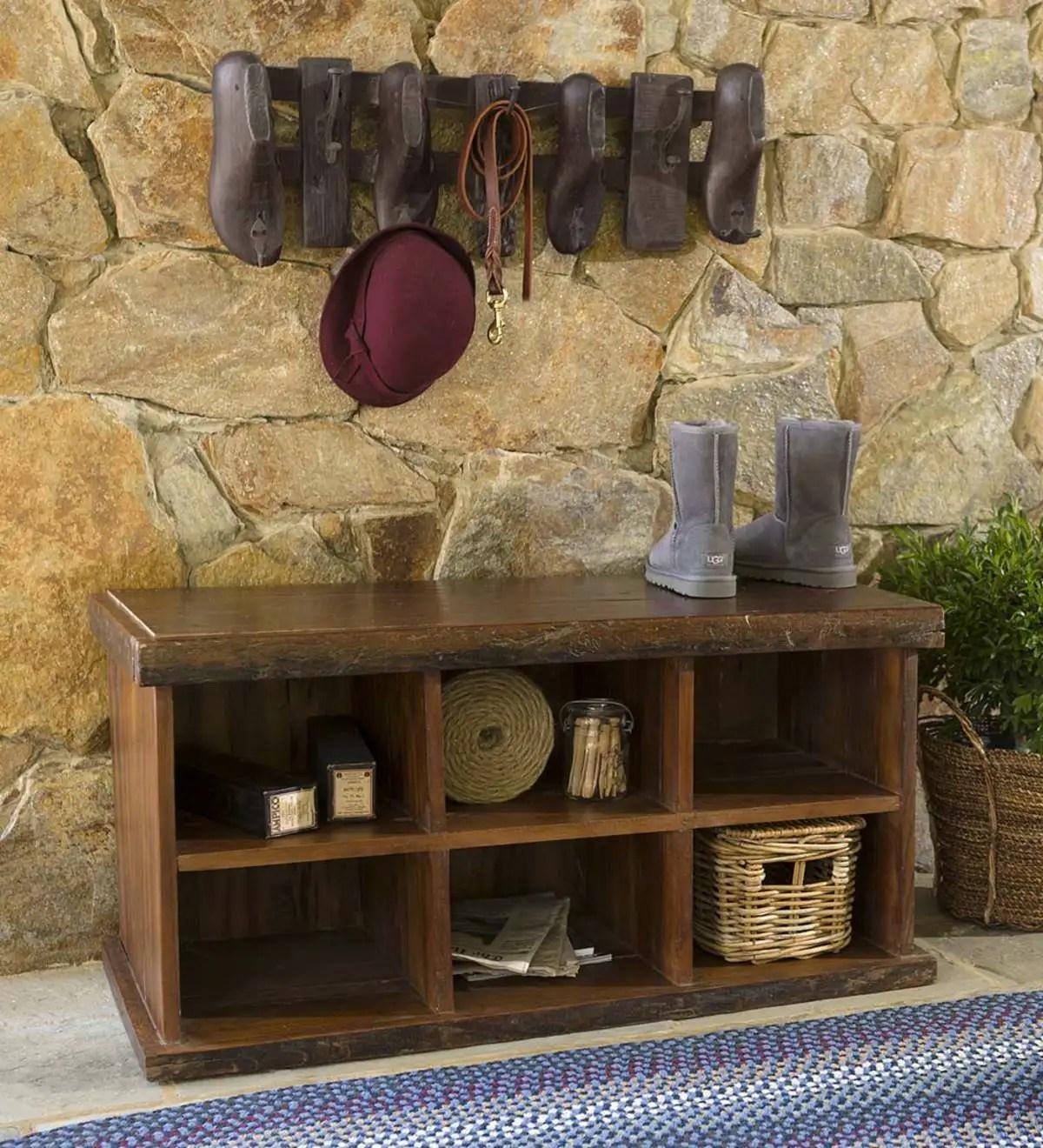 reclaimed wood shoe storage bench and cobbler coat rack set