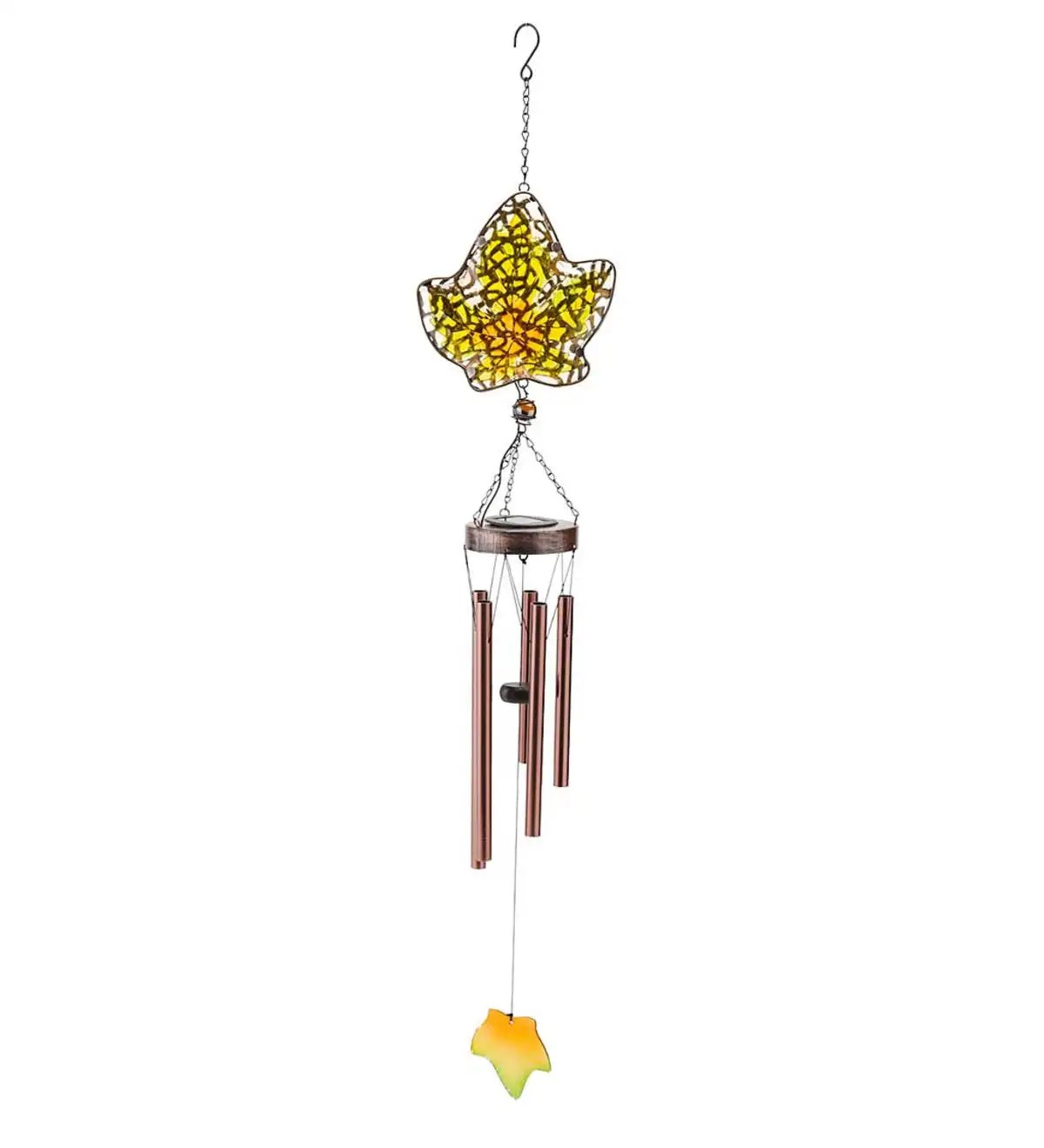 Solar Glass Leaf Wind Chime