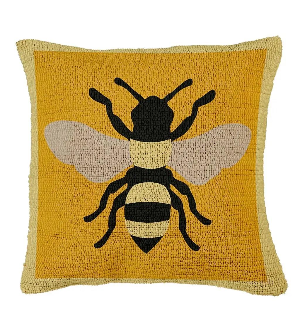 indoor outdoor hooked honey bee throw pillow