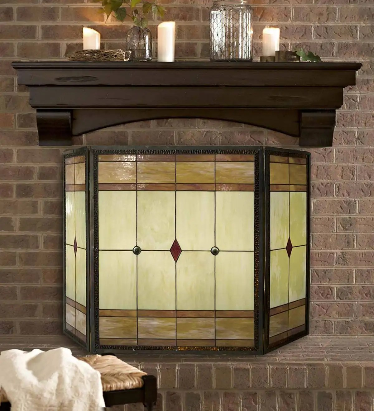 Mission Stained Glass Fireplace Screen