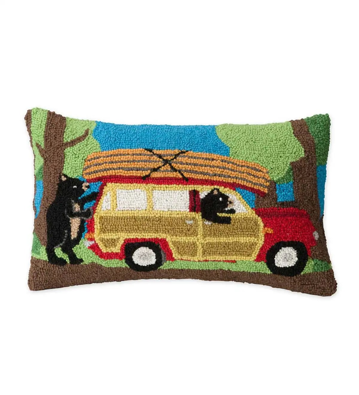hand hooked wool canoeing bears throw pillow plowhearth