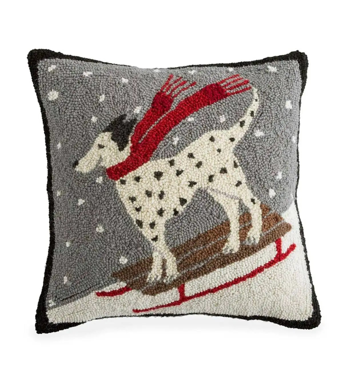 hand hooked wool dalmatian snow day throw pillow plowhearth
