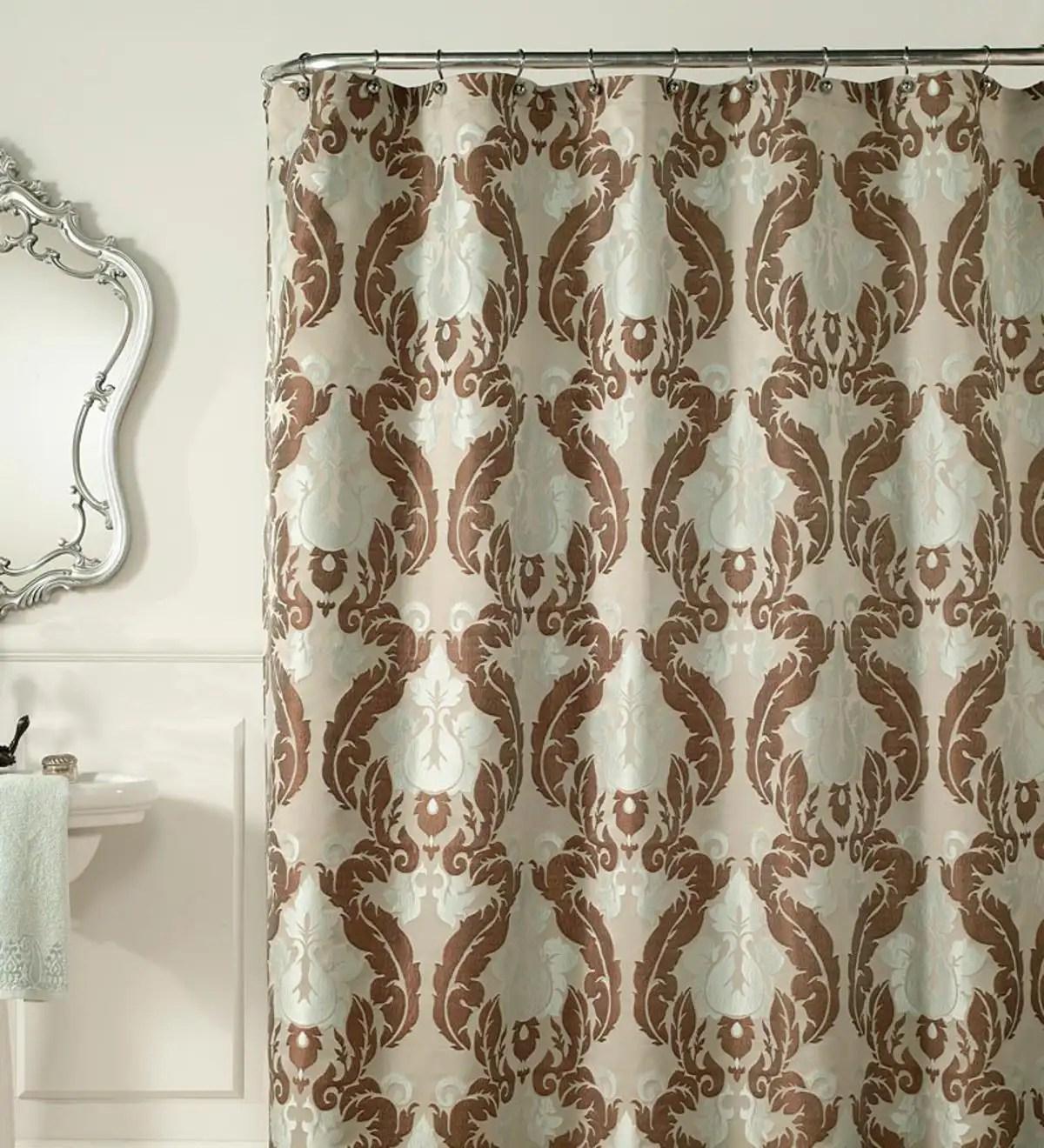 Teal Cocoa Jacquard Luxury Shower Curtain Plowhearth