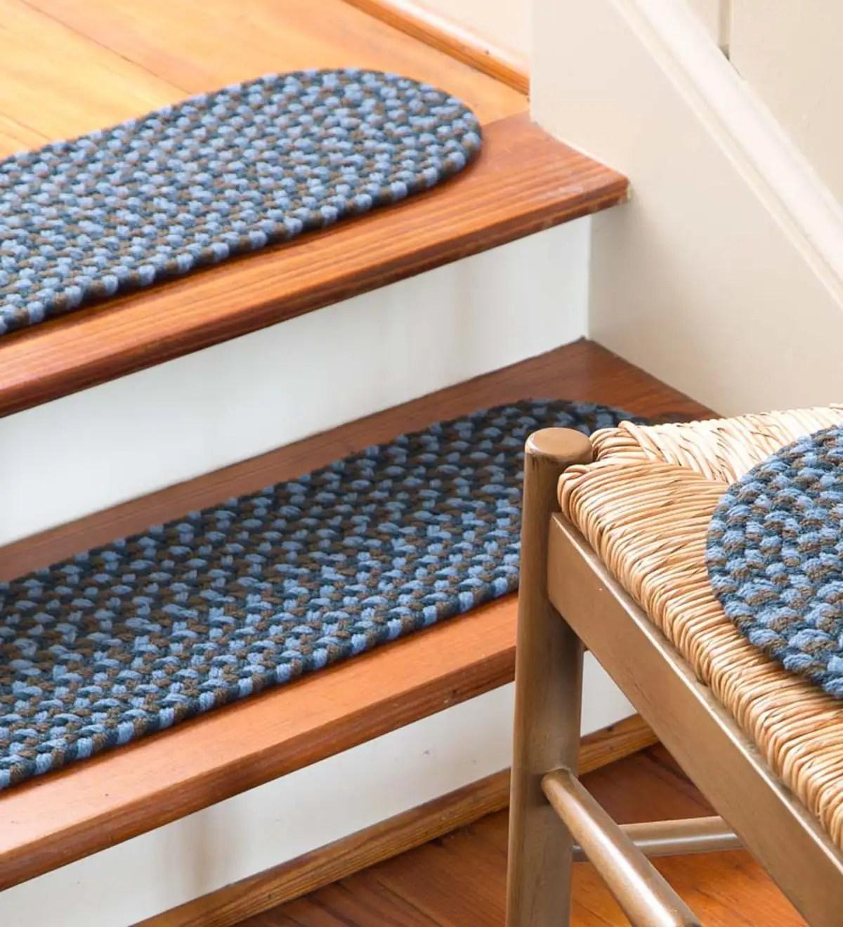 Indoor Outdoor Braided Polypro Roanoke Stair Tread Black Multi   Indoor Outdoor Stair Treads   Anti Slip Stair   Ellsworth Indoor   Waterhog Stair   Carpet Stair   Rubber Backing